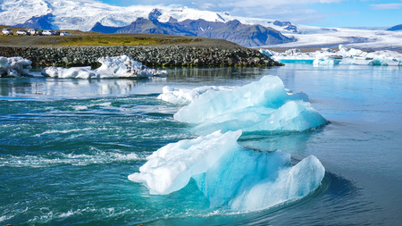 The Jokulsarlon glacier lagoon.When the climate was changing the snow melt down from the mountain then some part became small iceberg and flow to the Arctic ocean. Iceland