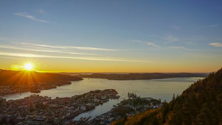 Beautiful Sunset in the evening of summer - panoramic view from Floyen mountain  in Bergen,  Norway.