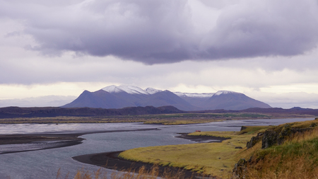 Iceland ring road tours. The beautiful natural landscape with sky and mountain in iceland