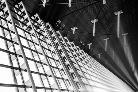 Beautiful Metal structure of interior in the large building - Black and White Color