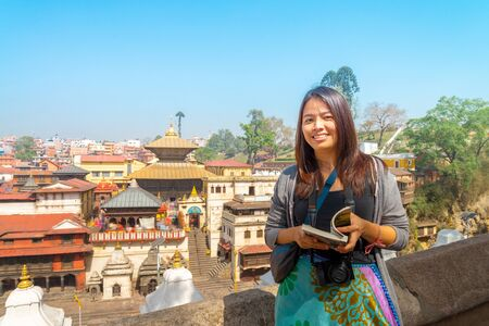 An asian  tourist visited the Pashupatinath Temple is a famous   Located  on the banks of the Bagmati River in Kathmandu, Nepal. Stok Fotoğraf
