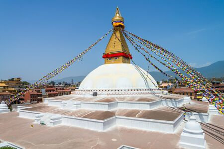 The Buddhist stupa of Boudha Stupa dominates the skyline. It is one of the largest unique structures stupas in the world Located in kathmandu, Nepal. Imagens
