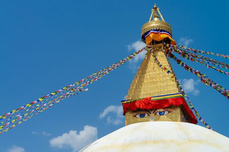 The close-up shot to the eye of the Boudhanath Stupa Located in Kathmandu, Nepal.