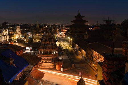 Beautiful night scene of ancient Patan Durbar Square Kathmandu, Nepal Stok Fotoğraf