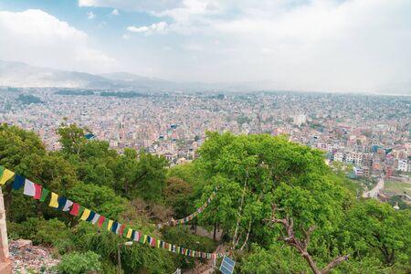 Kathmandu cityscape scenery view from Swayambhunath  Stupa, Nepal Stok Fotoğraf