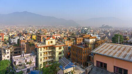 Kathmandu cityscape scenery view from rooftop in a hotel, Nepal Stok Fotoğraf