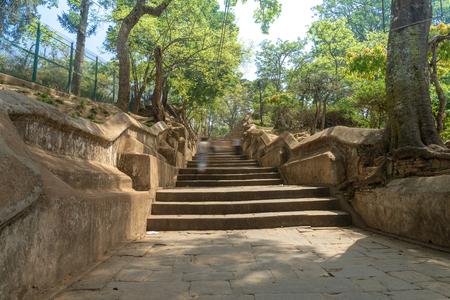 The stair from Bagmati River near Pashupatinath temple. This stair go to Gorakhnath temple and Shiva Shrine the located on the hill top. Kathmandu, Nepal Stok Fotoğraf