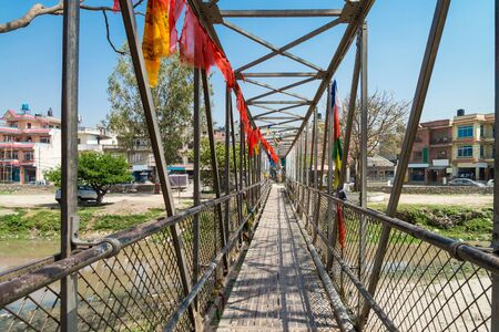 The local small metal bridge for cross bagmati river near Guhyeshwari Temple, Nepal