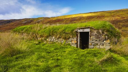 The turf houses of Hijardarhagi farm in Iceland. Stok Fotoğraf