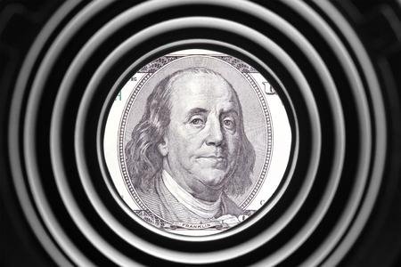 벤자민 프랭클린 초상화 은행권에 스톡 콘텐츠