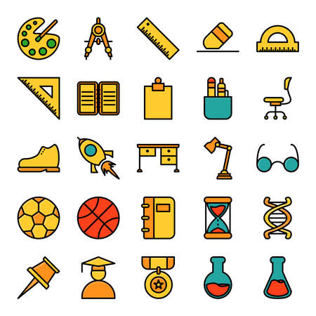 school and education icon vector, filled outline.