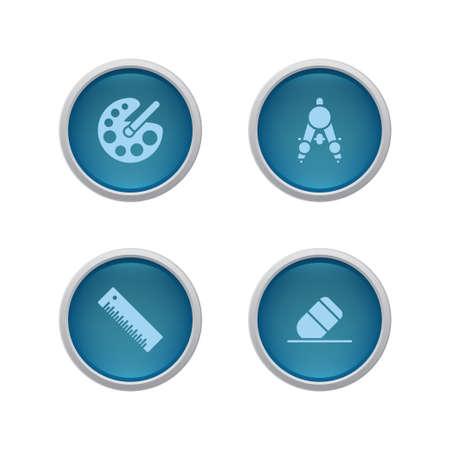 Button ruler, pallet, eraser icon. Vector color