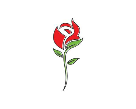 Rose flower Logo Template design Illustration