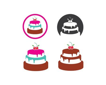 Modèle d'illustration vectorielle de logo de gâteau