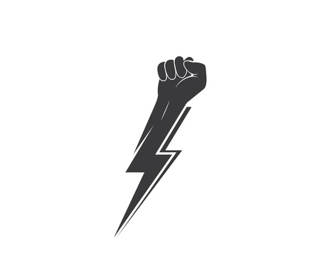 strong hand with power thunder illustration vector template Standard-Bild - 119844013