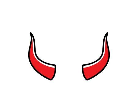 devil horn,animal horn logo icon vector template Çizim