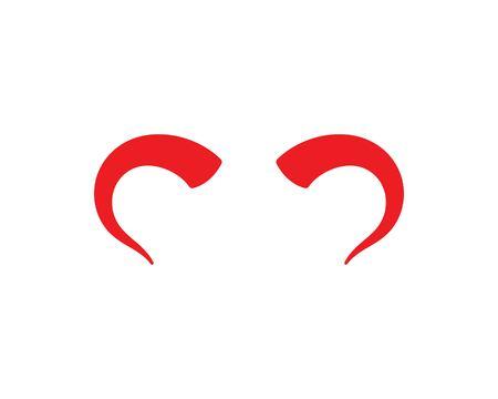 devil horn,animal horn logo icon vector template Ilustração