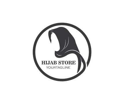 hijab logo vector,culture of woman muslim fashion design