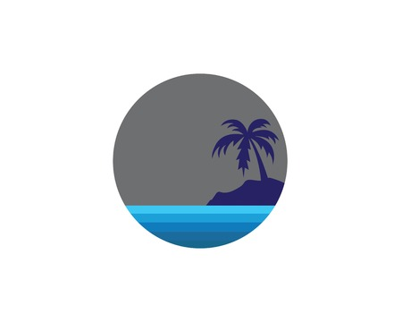 water wave with palm tree illustration vector template