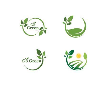 ga groen Logo's van groen blad ecologie natuur element vector icon