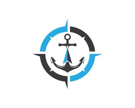 Icona di ancoraggio Logo bussola design Modello illustrazione vettoriale