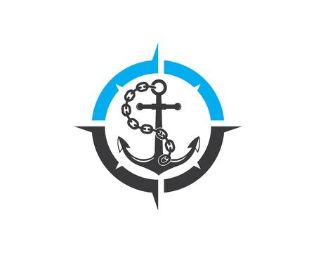 Anchor icon Logo compass design Template vector illustration