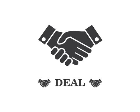 handshake logo vector icon of business agreement design