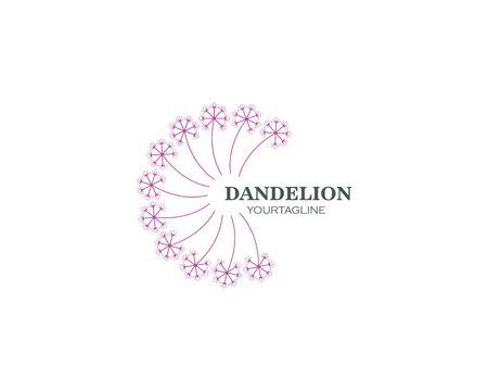 vettore dell'icona del logo del fiore del dente di leone Logo