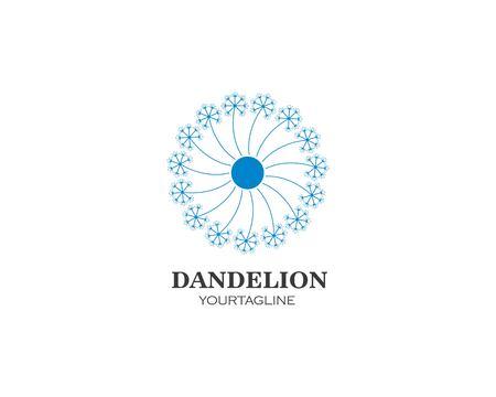 vettore dell'icona del logo del fiore del dente di leone
