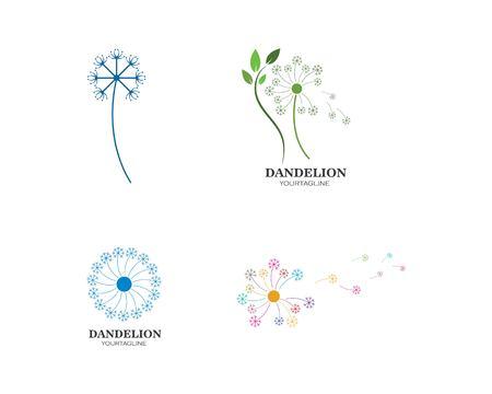 vector de icono de logotipo de flor de diente de león