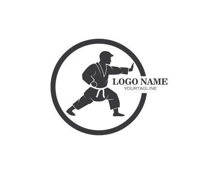 karate,taekwondo kick logo vector illustration template design