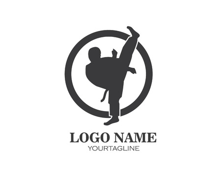 karate,taekwondo kick logo vector illustration template design Illustration
