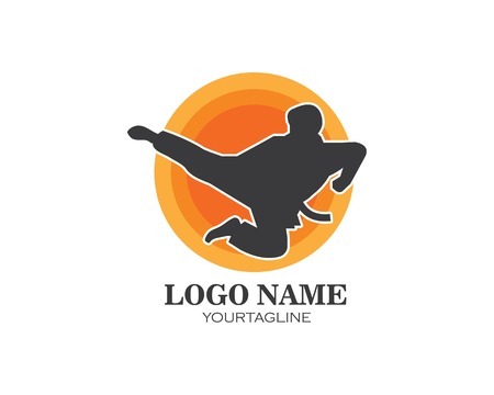 karate,taekwondo kick logo vector illustration template design Illustration