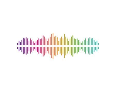 sound wave,pulse ilustration logo vector icon template Ilustração
