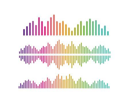 Onda de sonido, plantilla de icono de vector de logotipo de ilustración de pulso Logos
