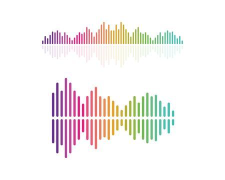 onda sonora, modello di icona di vettore di logo di illustrazione di impulso