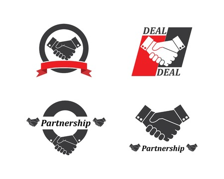 handshake logo vector icon of business agreement design