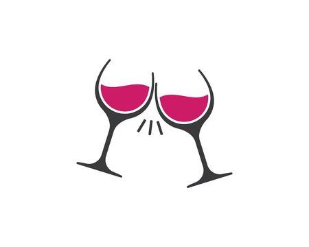 wine glasses toasting logo icon vector template