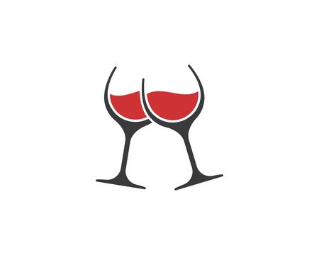 bicchieri di vino che tostano il modello di vettore dell'icona del logo