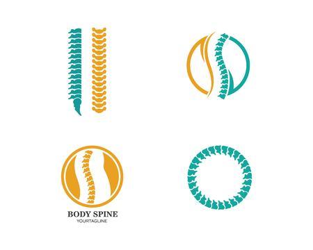 Modèle de conception de logo de symbole de diagnostic de la colonne vertébrale vector illustration
