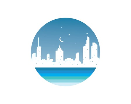 modern city skyline vector landscape illustration