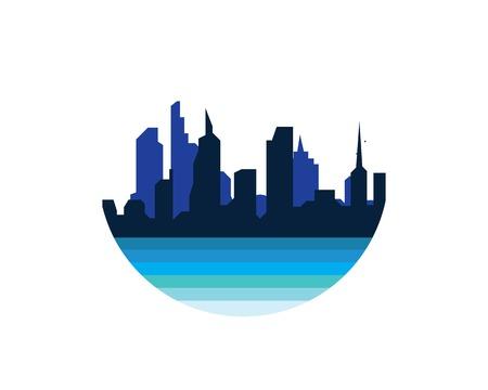 modern city skyline vector landscape illustration