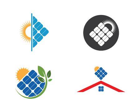 icône de vecteur de logo de panneau solaire d'énergie naturelle Logo