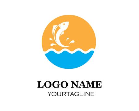 Fish logo template. Creative vector symbol of fishing club Vettoriali