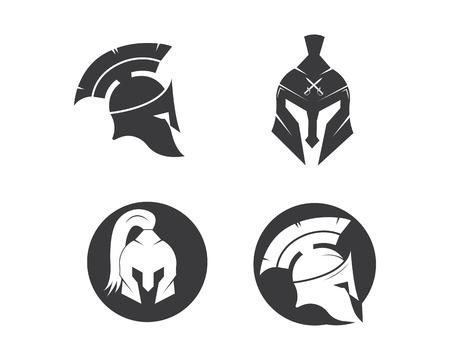 modello di progettazione dell'illustrazione di vettore dell'icona del logo del casco spartano