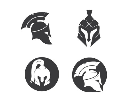 spartan helmet logo icon vector illustration design template