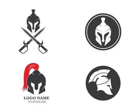 spartan helmet logo icon vector illustration design template