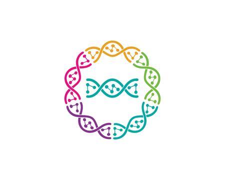 Modèle d'illustration de l'icône du logo génétique de l'ADN