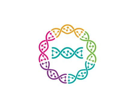 Plantilla de ilustración de icono de logotipo genético de ADN