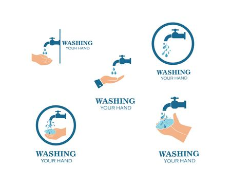 washing hands logo icon vector design template Standard-Bild - 123479149
